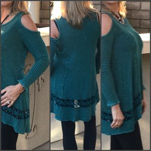 Infinity Raine Teal Knit Cold Shoulder Tunic
